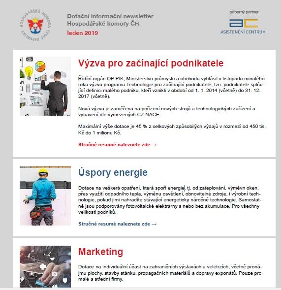 Dotační informační newsletter HK ČR