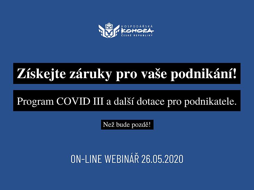 Získejte záruky pro vaše podnikání! Program COVID III a další dotace pro podnikatele. On-line webinář zdarma